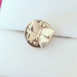 Small Butterfly Lapel Pin Vintage Gold Tone